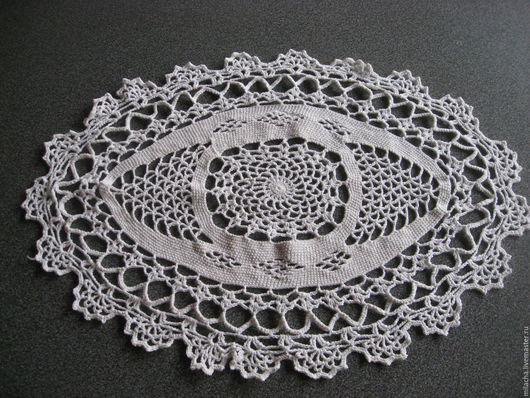 Текстиль, ковры ручной работы. Ярмарка Мастеров - ручная работа. Купить Ажурная овальная белая салфетка крючком. Handmade. Белый