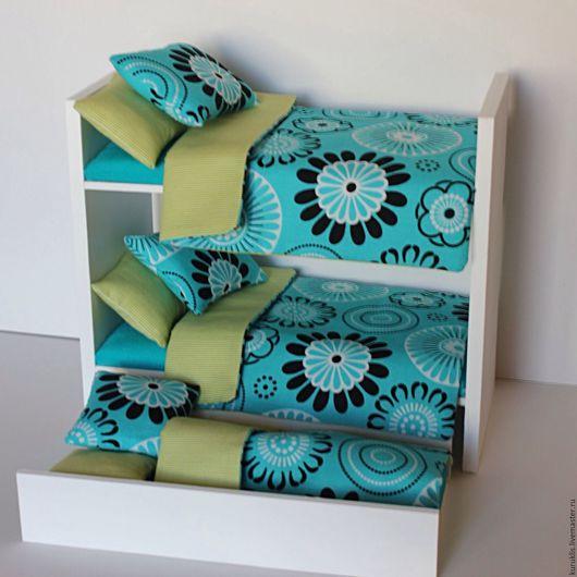 Кукольный дом ручной работы. Ярмарка Мастеров - ручная работа. Купить Двухъярусная кроватка с 3-мя спальными местами и 3-мя постельками. Handmade.