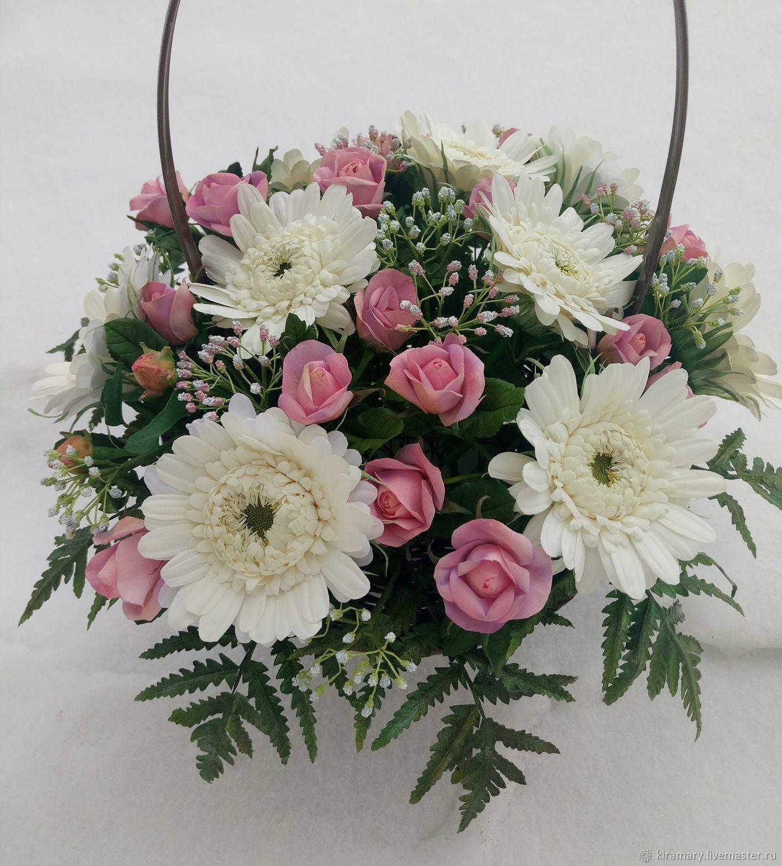 Bouquet in a basket, Composition, Kazan,  Фото №1