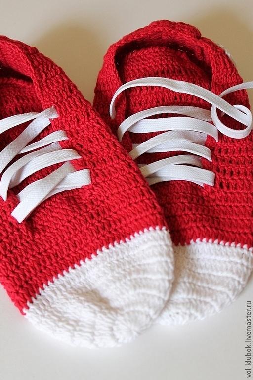 Обувь ручной работы. Ярмарка Мастеров - ручная работа. Купить Вязаные мужские кеды. Handmade. Ярко-красный