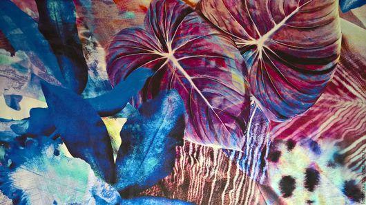"""Шитье ручной работы. Ярмарка Мастеров - ручная работа. Купить Плательный шелк """"Тропики"""". Handmade. Синий, цветы, платье, шитье"""