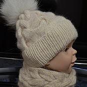 Шапки ручной работы. Ярмарка Мастеров - ручная работа Шапки: Шапочка и снуд косами.. Handmade.