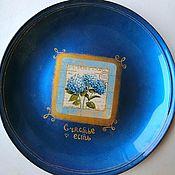 Тарелки ручной работы. Ярмарка Мастеров - ручная работа Голубые цветы винтаж. Handmade.