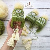 Куклы и игрушки handmade. Livemaster - original item Hat for a doll. Pistachio-white. Light lemon. 18 - 20 cm. Handmade.