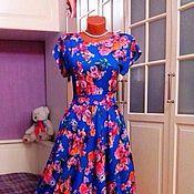Одежда ручной работы. Ярмарка Мастеров - ручная работа Штапельное платье миди Анабель 2. Handmade.