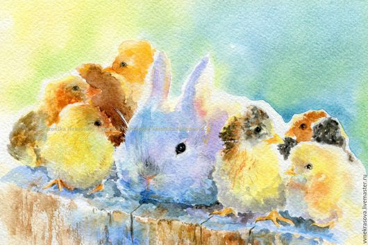 Репродукции ручной работы. Ярмарка Мастеров - ручная работа. Купить Кролик и цыплята. Принт. Картина в детскую. Handmade. Принт, печать