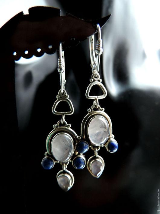 Серьги ручной работы. Ярмарка Мастеров - ручная работа. Купить Серебряные серьги с лунным камнем и лазуритом. Handmade. Серебряные серьги