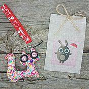9-2 Заяц - Кот 10х15 см мешочки для подарков льняные, упаковка подарок