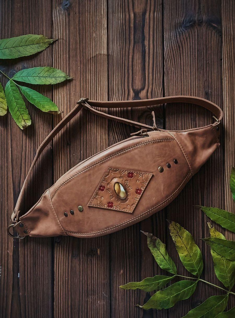 Сумка поясная из натуральной кожи в стиле бохо с яшмой, Поясная сумка, Санкт-Петербург,  Фото №1