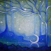 Картины и панно ручной работы. Ярмарка Мастеров - ручная работа Картина Голубой  лес и луна  утро   пейзаж  акрил дом. Handmade.