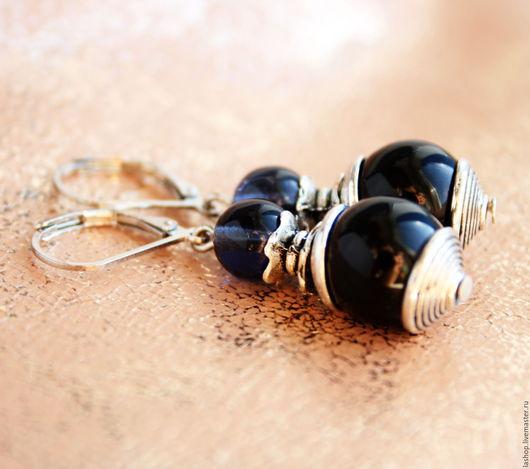 Серьги ручной работы. Ярмарка Мастеров - ручная работа. Купить Серьги сине-черные из чешских буин. Handmade. Серьги