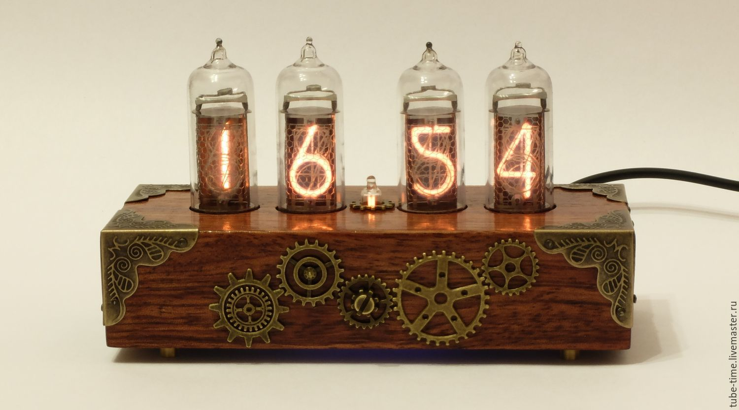 SteamPunk lamp clock on tubes IN-14 in the case of solid Bubinga, Tube clock, Moscow,  Фото №1