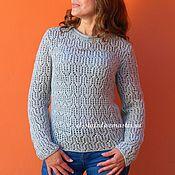 Одежда ручной работы. Ярмарка Мастеров - ручная работа Серый пуловер вязаный женский ажурный джемпер. Handmade.