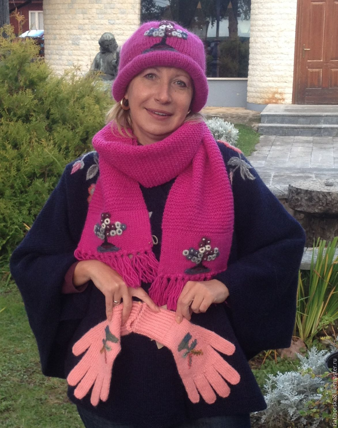 Sirogojno Style комплект: шапки, шарфы, перчатки Модель 454