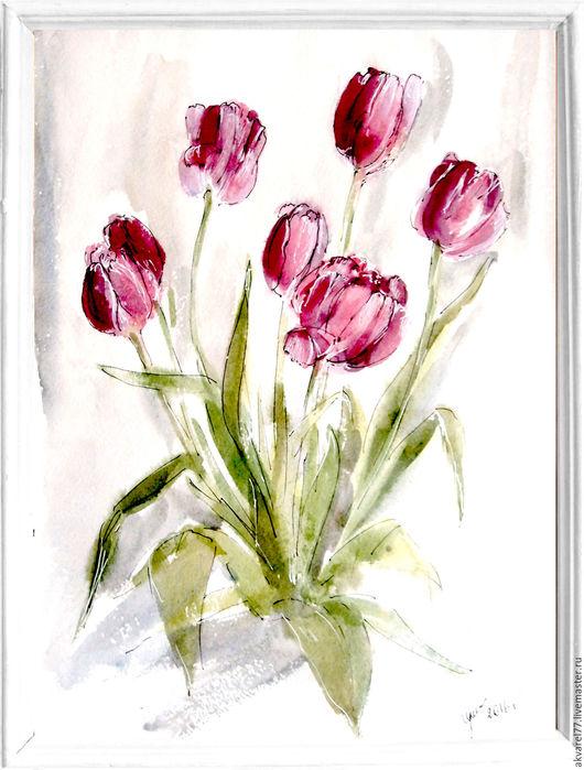 Картины цветов ручной работы. Ярмарка Мастеров - ручная работа. Купить Цветы Тюльпаны. Handmade. Акварель, картина в подарок