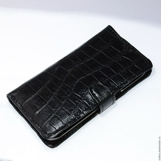 Для телефонов ручной работы. Ярмарка Мастеров - ручная работа. Купить Чехол книжка из кожи крокодила на телефон Samsung Galaxy S6 Edge. Handmade.