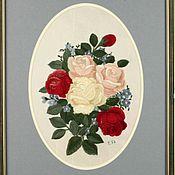 """Картины и панно ручной работы. Ярмарка Мастеров - ручная работа Картина """"Летние розы"""" (вышивка гладью). Handmade."""