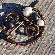 Украшения handmade. Livemaster - original item Copper brooch-brooch with pearls. Handmade.
