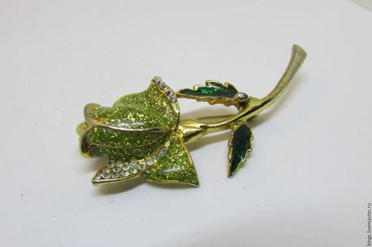 Винтажные украшения. Ярмарка Мастеров - ручная работа. Купить Винтажная брошь. Handmade. Зеленый, эмаль, кристаллы