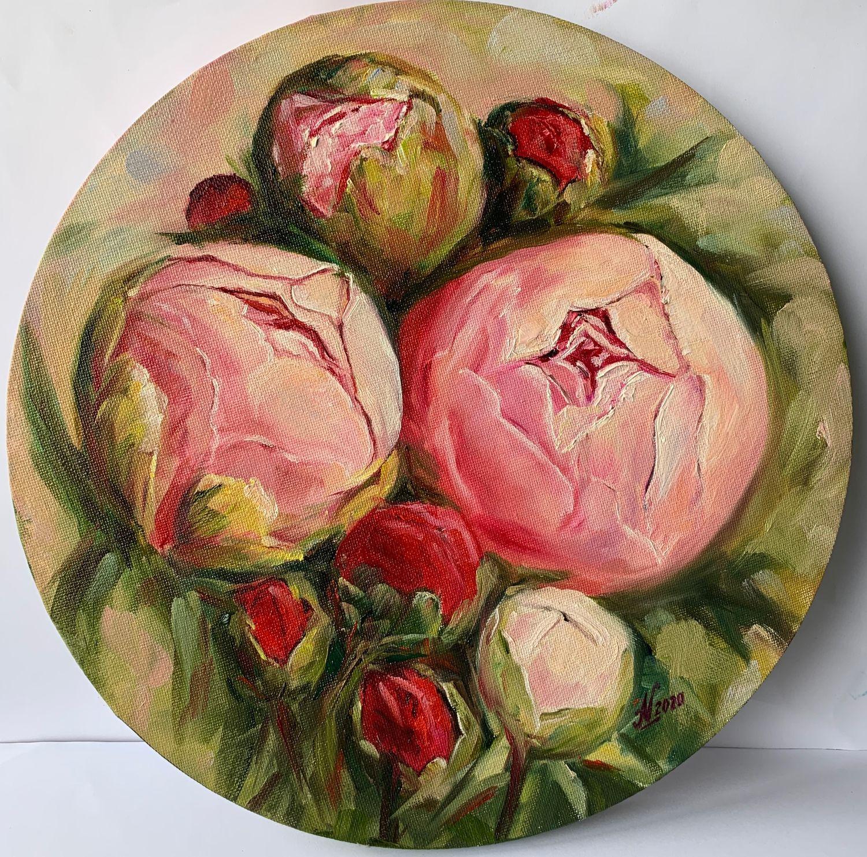 Картина маслом цветы пионы, круглый холст, Картины, Санкт-Петербург,  Фото №1