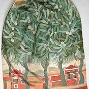 handmade. Livemaster - original item Silk hand-painted scarf - Оlive grove. Colorfull scarf. Olive green, t. Handmade.