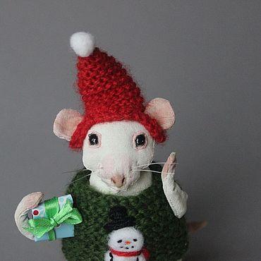 Куклы и игрушки ручной работы. Ярмарка Мастеров - ручная работа Крыса белая,  Игрушка текстильная,Новый год 2020,подарок ребёнку. Handmade.