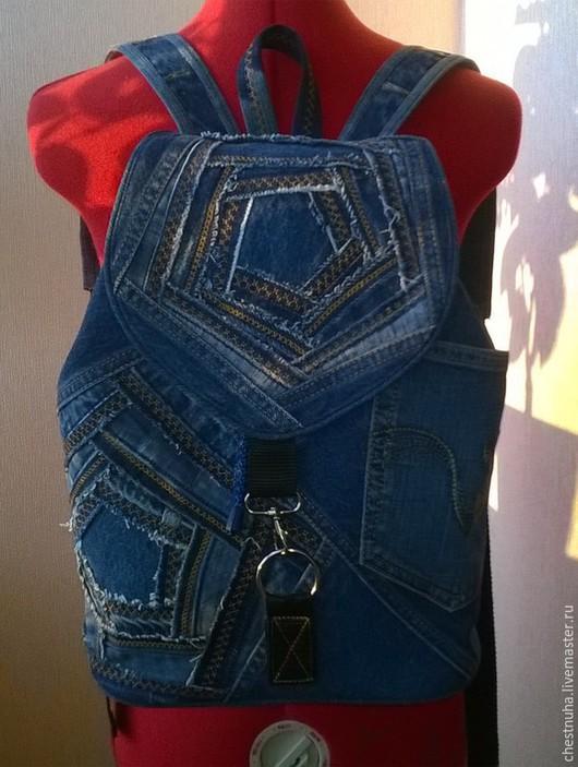 """Рюкзаки ручной работы. Ярмарка Мастеров - ручная работа. Купить Рюкзак джинсовый """"Patchwork denim"""". Handmade. Тёмно-синий"""