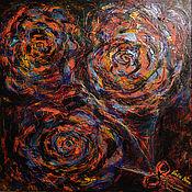 """Картины ручной работы. Ярмарка Мастеров - ручная работа """"Три Галактики""""-авторская абстракция на холсте 40/40 см. Handmade."""