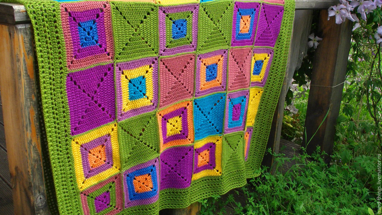 Вязание пледа крючком из квадратов для начинающих фото