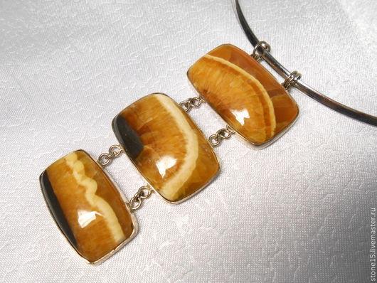 """Кулоны, подвески ручной работы. Ярмарка Мастеров - ручная работа. Купить Кулон с симбирцитом """"Трио"""". Handmade. Оранжевый, кулон с симбирцитом"""