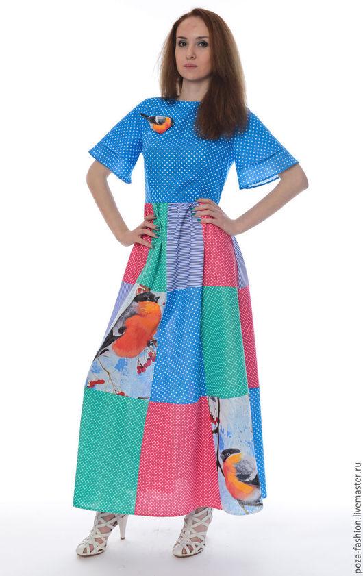 """Платья ручной работы. Ярмарка Мастеров - ручная работа. Купить Платье """"Снегирь-пэчворк"""". Handmade. Комбинированный, птица брошь"""