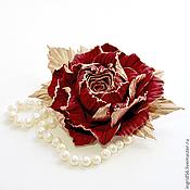 Брошь из кожи Роза Императрица