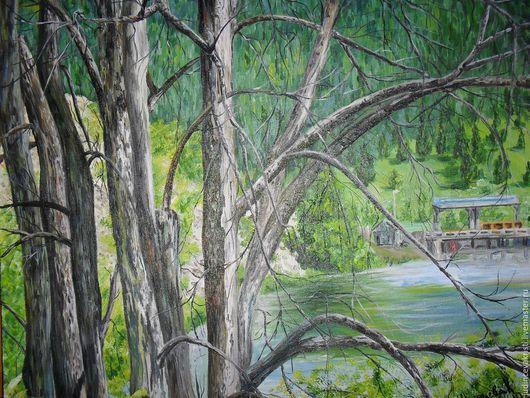 Пейзаж ручной работы. Ярмарка Мастеров - ручная работа. Купить стволы полусгоревших деревьев. Handmade. Комбинированный, сим, пруд, деревья
