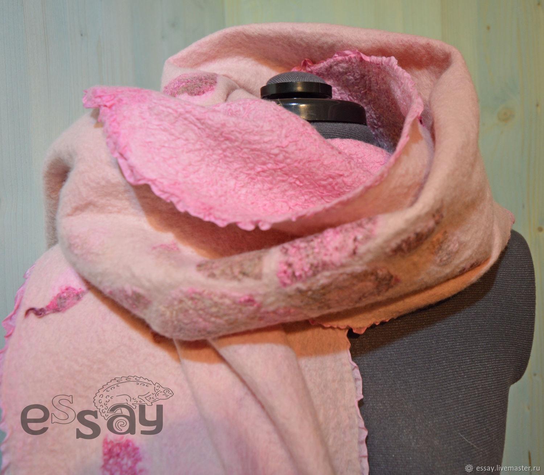 Палантин валяный Цветущий миндаль розовый, Шарфы, Сосновый Бор,  Фото №1