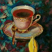 Картины и панно handmade. Livemaster - original item Oil painting tea Party still life with Cup on saucer. Handmade.