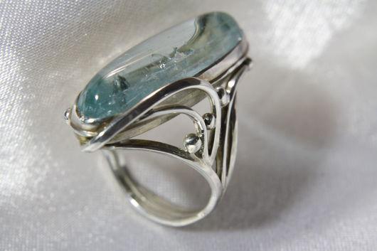 Кольца ручной работы. Ярмарка Мастеров - ручная работа. Купить Серебряный перстень с бериллом -аквамарином. Handmade. Зеленый, аквамариновый