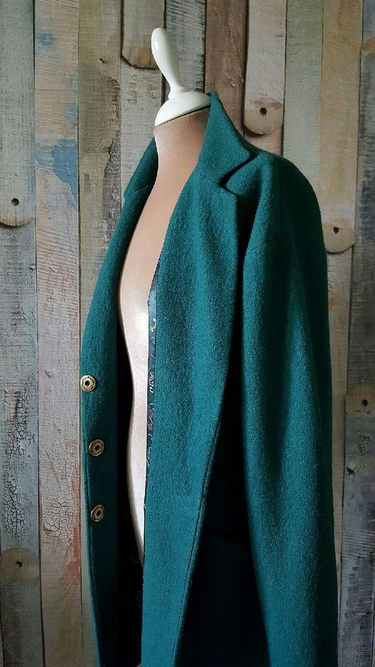 Верхняя одежда ручной работы. Ярмарка Мастеров - ручная работа. Купить Пальто демисезонное. Пальто оверсайз.. Handmade. Тёмно-зелёный