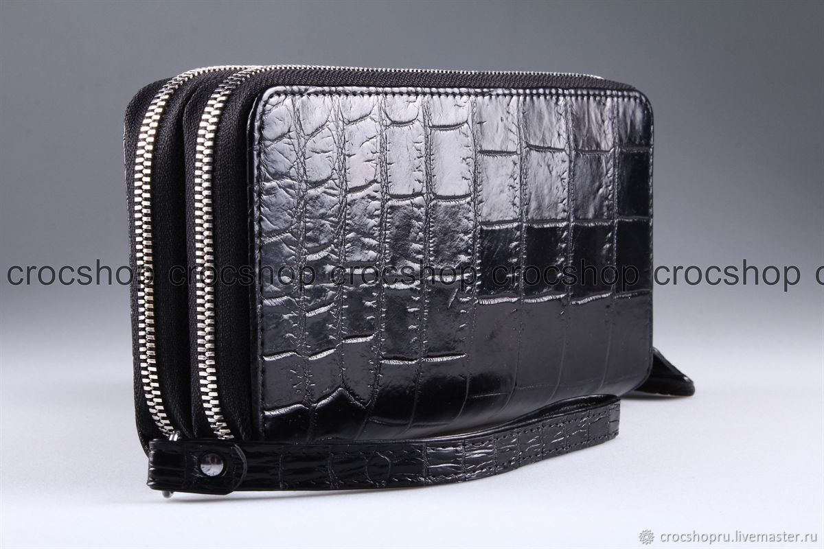 Clutch bag in crocodile leather with two zippers IMA0002B44, Wallets, Moscow,  Фото №1