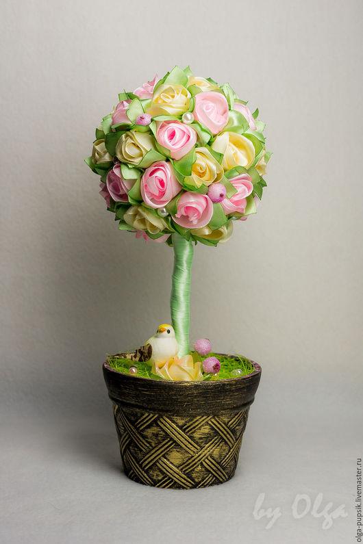 Топиарии ручной работы. Ярмарка Мастеров - ручная работа. Купить Топиарий из атласных роз. Handmade. Топиарий, подарок, блёстки
