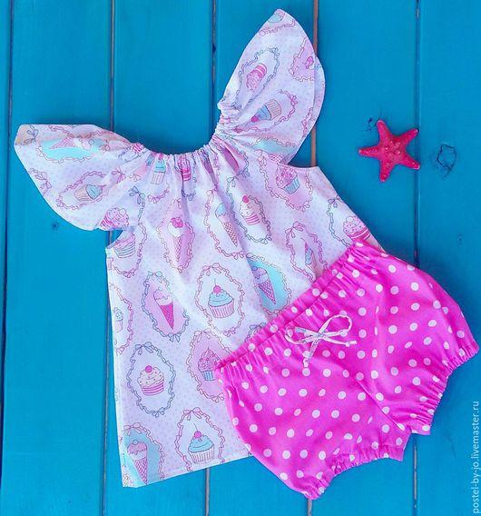 Одежда для девочек, ручной работы. Ярмарка Мастеров - ручная работа. Купить Комплект Пироженка. Handmade. Комбинированный, косынка для девочки, блумерсы