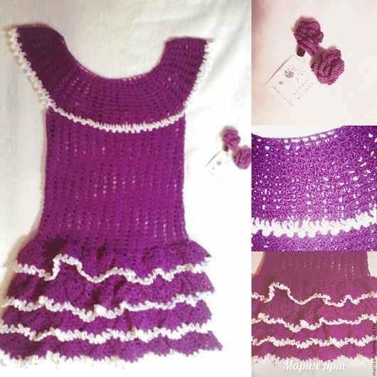 """Одежда для девочек, ручной работы. Ярмарка Мастеров - ручная работа. Купить Платье на девочку """"Сиреневый иней"""". Handmade. Тёмно-фиолетовый"""