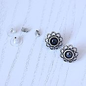 Украшения handmade. Livemaster - original item Earrings-ear-stud-Romagna Study (hematite). Handmade.
