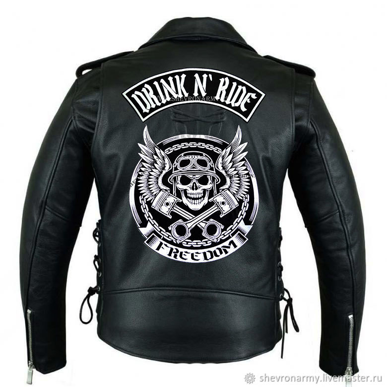 Biker stripe on the 'Skull with wings and helmet' jacket ', Patches, St. Petersburg,  Фото №1