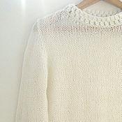 "Женский вязаный пуловер ""Fluff"" белый молочный"