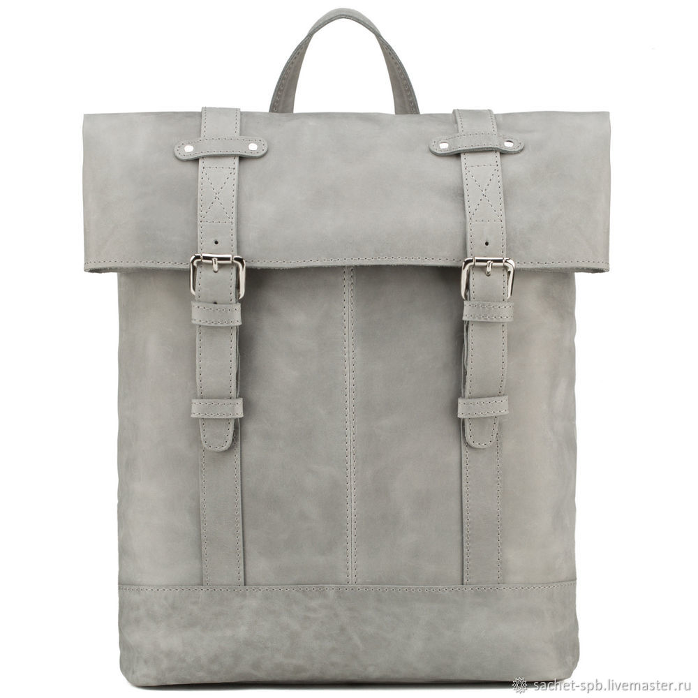 Leather backpack 'Benjamin' (gray crazy), Backpacks, St. Petersburg,  Фото №1