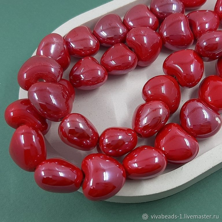 Heart bead 17h15 mm red, ceramic (5502-K), Beads1, Voronezh,  Фото №1