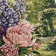 """Картины цветов ручной работы. Заказать Вышитая картина """"Пионы и дельфиниумы"""". Гульназ (gulnaz_g). Ярмарка Мастеров. Вышивка, вышивка цветы"""