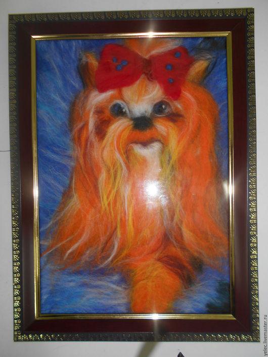 """Животные ручной работы. Ярмарка Мастеров - ручная работа. Купить """"Йорк- рыжик"""". Handmade. Рыжий, картина из шерсти"""