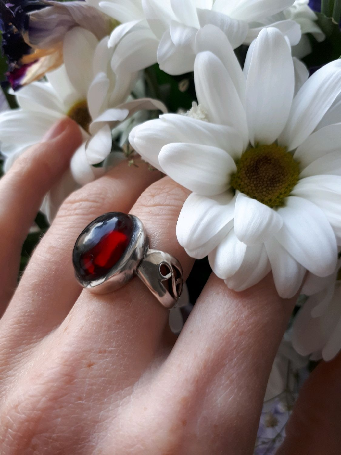 Wine cellar-silver.ring with red garnet cabochon, Rings, Moscow,  Фото №1