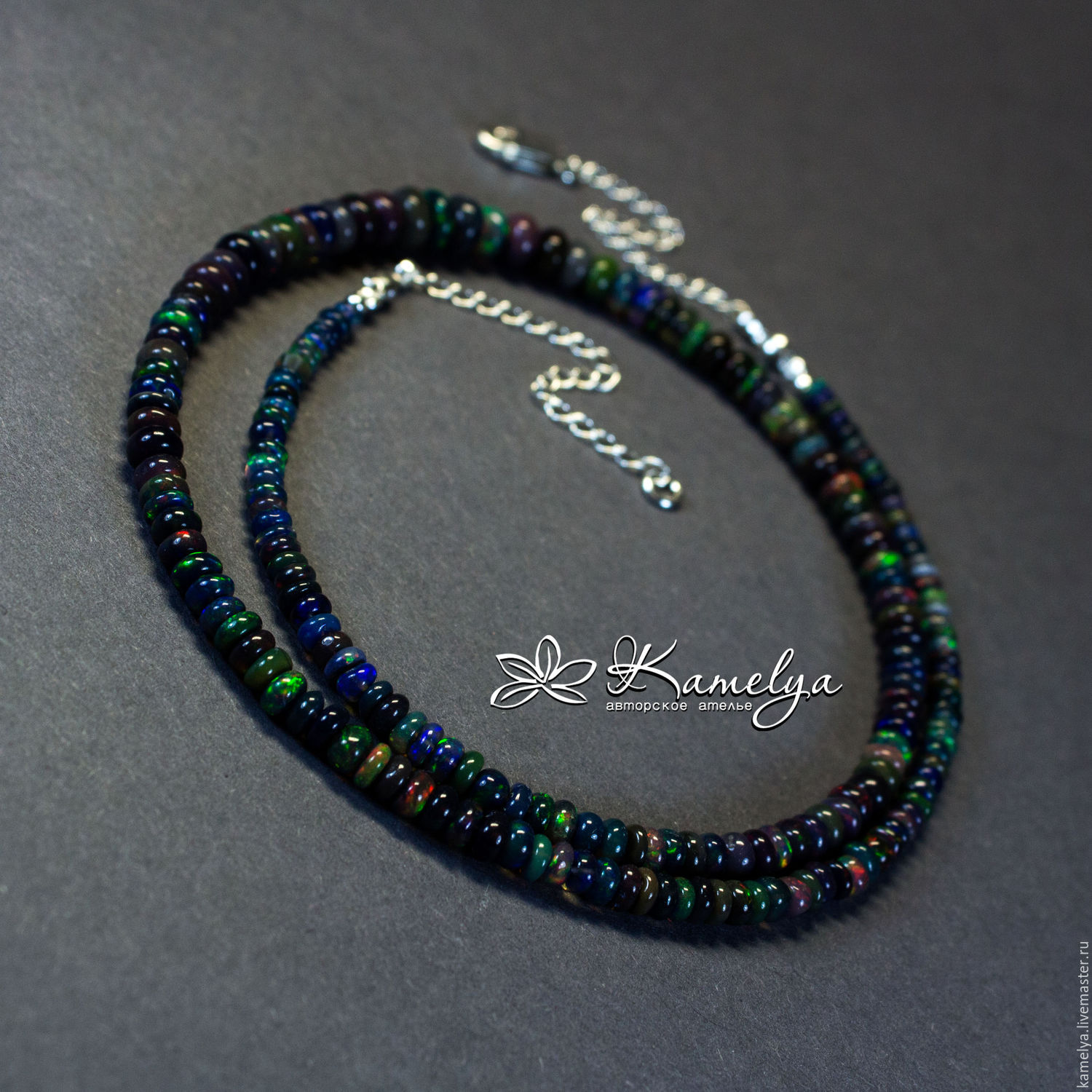 necklace black opal pendant modern